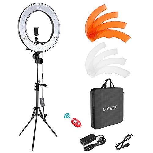 Neewer Luce ad Anello LED 48cm Esterno 55W 5500K Dimmerabile con Stativo di Luce, Ricevitore Bluetooth per Smartphone, Youtube, TikTok, Autoritratto