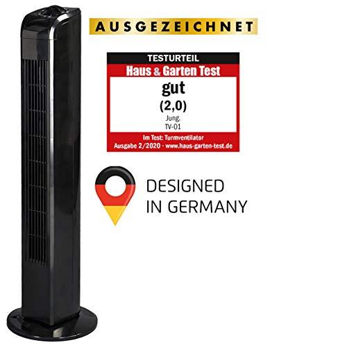 JUNG TV02 Turmventilator leise 76cm schwarz, ENERGIESPAREND/EEK A+ - Verbrauch 0,05 kW/h, Turm-lüfter Lautstärke max. 48dbA, BESTSELLER Ventilator,3 Stufen, 75° Oszillierend/Drehbar, Stablüfter