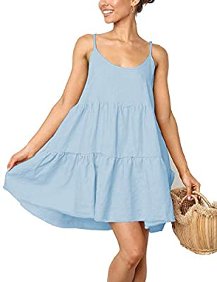 This Spaggetti Strap Dresses made by polyester,fabric is Super soft,Breathable,lightwight,comfortale and Quick drying,very suit for Summer. This Casual Swing Dress with Adjustable Spaghetti Strap,Blackless with bow,loose fit,this A-line dress is perf...