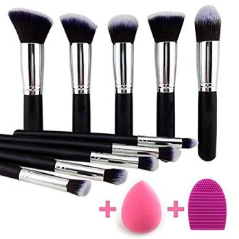 Eyeshadow Brush Makeup Brush Kit with Blender Sponge (Black/Silver)