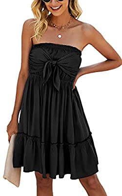 Material: Polyester. Comfortable and Breathable With Good Elastic, Skin-friendly. Design: Tube Top Dress, Floral Print, Tie Knot Front, A-line Style, Pleated Design, Swing Mini Dress. Ideal gift for your family, lover and friends. Occasions: Good Cho...