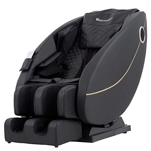 Zero Gravity Full Body Electric Shiatsu Massage Chair Recliner with Built-in Heat Foot Roller Air Massage System LSS-Track Stretch Vibrating Audio for Home Office PS4,Black
