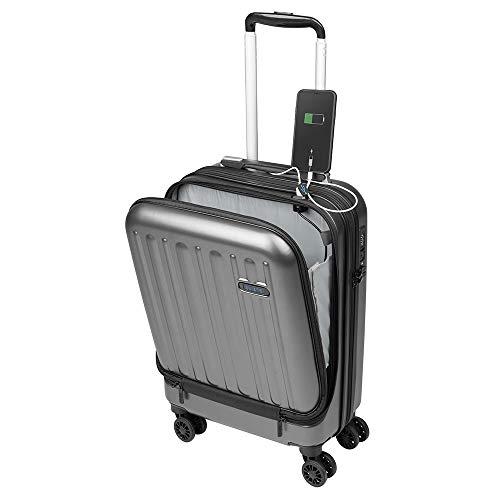 Kabinenkoffer Fach für Laptop 16'' Handgepäck, Leichter Trolley, robust und widerstandsfähig 4 Doppelrollen um 360° drehbar, TSA-Schloss Sulema USB (Grau)