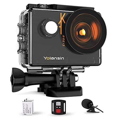 Yolansin Action Cam 4K/60FPS Sports Cam 20MP EIS WiFi Microfono Esterno Subacquea 40M Impermeabile Grandangolo 170 ° HD DV Videocamera con Telecomando 2.4G Fotocamera 2x1350mAh Batterie e Accessori