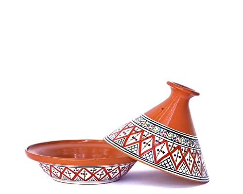 Kamsah Hand Made and Hand Painted Tagine Pot   Moroccan Ceramic Pots For Cooking and Stew Casserole Slow Cooker (Medium, Classic Bohemian Red)