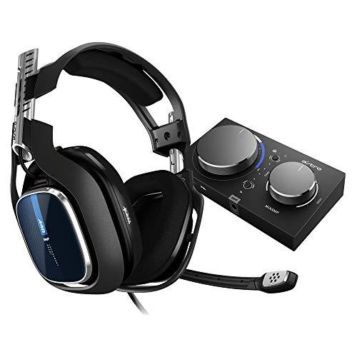 ASTRO Gaming A40 TR Cuffie Gaming Cablate + MixAmp Pro TR, Generazione 4, Audio Dolby Surround 7.1, ASTRO Audio V2, Jack Audio 3.5 mm, Microfono Intercambiabile, Leggere, PC/Mac/PS4, Nero/Blu