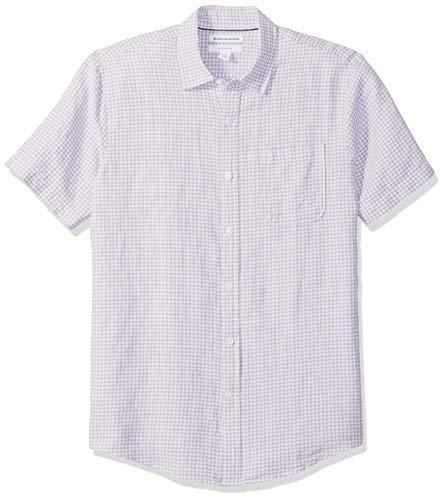 Amazon Essentials - Camisa de lino a rayas, de manga corta y corte entallado para hombre, Lavendar Gingham, US XXL (EU XXXL - 4XL)