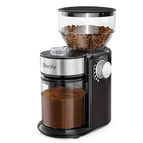 Sboly Electric Burr Coffee Grinder with 18 Grind Settings, Adjustable Burr Mill Coffee Bean Grinder for Espresso, Drip Coffee, French Press and Percolator Coffee, Cleaning Brush Included