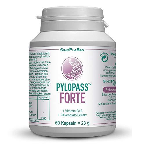 Pylopass FORTE 200mg mit Vitamin B12 und Olivenblattextrakt, 60 Kapseln, beste Qualität, hochdosiert, vegan, laktosefrei, glutenfrei, für Diabetiker geeignet