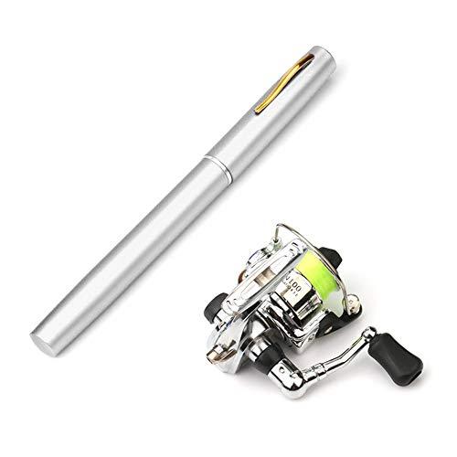 Lixada 1 m / 1,4 m Pocket pieghevole canna da pesca mulinello Combo Mini Pen kit canna da pesca telescopica mulinello spinning Combo kit, Silver, 1 m
