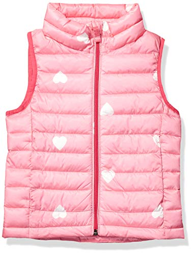 Amazon Essentials Hooded Puffer Jacket Down-Outerwear-Vests, Pink Heart, Medium