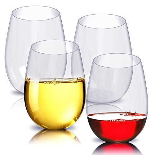 Unbreakable Wine Glasses, ESEOE Shatterproof Stemless Plastic Glasses,Reusable Plastic Cup for Party,Camping -Set of 4 (16oz)