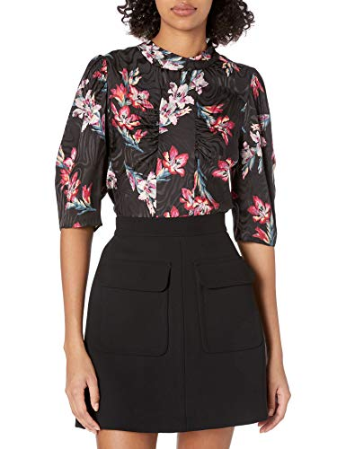 41Jw9ZXDjzL. SL500 Mock neck silk blouse with ruching down front Straight edge hem and 3/4 length sleeves