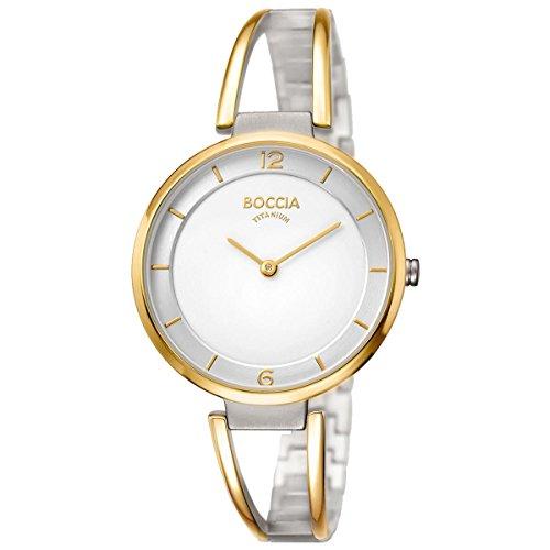 Boccia Damen Analog Quarz Uhr mit Titan Armband 3260-02