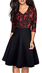 Style: Elegant Casual Party A Line Dress Features: V-neck, 3/4 Sleeve, Knee-Length, Lace Patchwork Low Temperature,Hand wash or gentle machine wash Occasions: Suitable for many occasions like business, party, prom, banquet, cocktail, work and so on *...