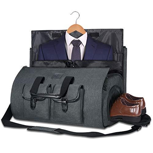 Carry-on Garment Bag Large Duffel Bag Suit Travel Bag Weekend Bag Flight Bag with Shoe Pouch for Men Women (Black)