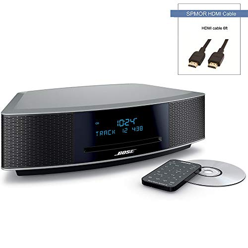 Bose Wave Music System IV, CD/MP3 CD Player, Advanced AM/FM Tuner, Dual Alarm, Remote Control (Battery Pre-Installed), 2.4m AC Power Cable, 4.5' Inches Tall, Platinum Silver, Spmor HDMI Cable
