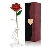 Gomyhom Fiore Artificiale, 24K Rosa Regalo Anniversario Matrimonio, Placcato Oro Fiore Romantico Eterno con Confezione Fidanzata, Regalo di Natale, Decorazioni