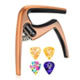Donner Zinc Alloy Ukulele Capo DC-3U for Soprano Concert Tenor Baritone Ukulele 4 String with 4 picks, bronze