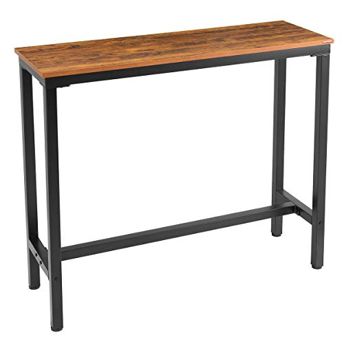 Mr IRONSTONE Bar Table, 47 Rectangular Kitchen Pub Dining Coffee Table High Writing Computer Table, For Narrow Space, Living Room, Dining Room-Sturdy Metal Frame, Easy Assembly, Industrial Brown