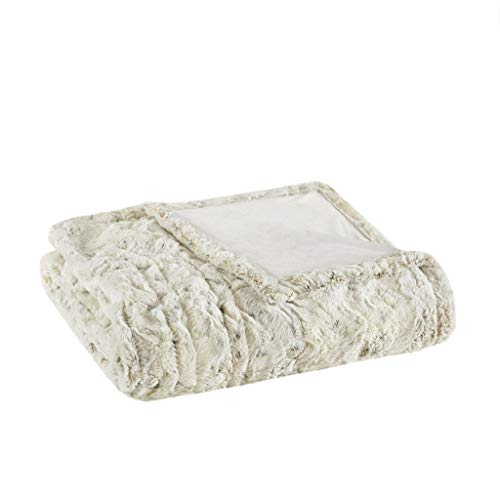 Beautyrest Zuri Electric Blanket Throw Ultra Soft Faux Fur Reverse to Mink Auto Shut Off Oversize with 3 Heat Level Setting Controller-5 Years Warranty, 50x70, Snow Leopard