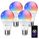 TECKIN Smart Light Bulb, E26 WiFi LED Bulbs Work with Alexa, Google Home (No Hub Required), RGBW 7.5W 16 Million Color Changing Bulbs (75W Equivalent), 800 Lumen, 2700K-6500K, 4 Packs
