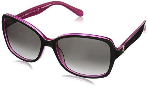 Kate Spade New York Women's Ayleen Rectangular Sunglasses, Black Pink/Gray Gradient, 56 mm
