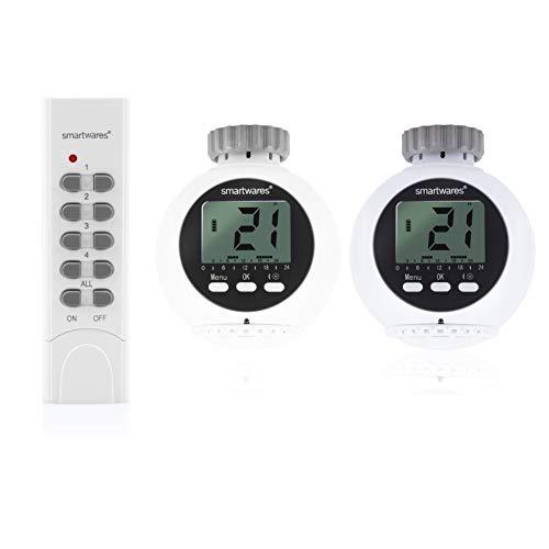 Smartwares SHS-53002-EU Tête programmable pour radiateur-2 thermostats intelligents et télécommande
