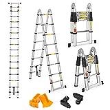 Finether 5 M Échelle Télescopique 2 en 1 Escabeau Pliant Ladder...