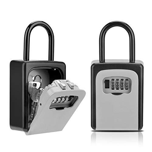 Key Lock Box, Combination Lockbox for Keys, Door Key Storage Box with Code, Portable Key Safe Box for House Key, Spare Key Door Knob Wall Mount Outside