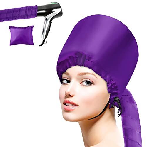 Cestmall Bonnet Attachment für Haartrockner, Helm-Trocknung Kappe Salon Hair Dryer Hood Bonnet Trockenhauben für Haare Wrap Turban Haartrockentuch (purple)