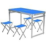 Kaikai Mesa de Picnic, Mesa de Camping portátil al Aire Libre y Silla, Mesa de Picnic de jardín con 4 heces Plegables, taburetes de sillas de Barbacoa en Azul (Color : Blue)