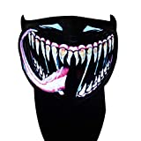 Party Music Mask, Sound Reactive LED Mask Sound Activated for Festival Party (Red Tongue)