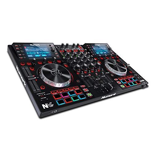 Numark NVII - Controller Intelligente per DJ a 4 Deck per Serato DJ con Doppio Display, Piatti in Metallo, 16 Pad Sensibili alla Velocity e Pacchetto Software