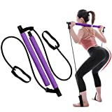 ZYLD Pilates Exercise bar Stick,Useful Yoga Rod Sports Exercise Tool, Home Gym Portable Pilates Bar Kit with Foot Loop Total Body Workout, Yoga Rod, Fitness, Stretch, Sculpt (Color : Purple)