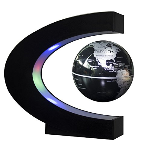 Senders Floating Globe with LED Lights C Shape Magnetic Levitation Floating Globe World Map for Desk Decoration (Black-Silver)
