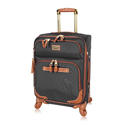 Steve Madden Designer Luggage Collection - Lightweight Softside Expandable Suitcase for Men & Women - Durable 20 Inch Carry On Bag with 4-Rolling Spinner Wheels (20in, Global Black)