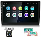 Hikity 10.1 Android Car Stereo Double Din 10.1 Inch Touch Screen Car Radio GPS Navigation Bluetooth FM Radio Support WiFi Mirror Link for Android/iOS Phone + Dual USB Input & 12 LEDs Backup Camera