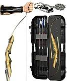Spyder Takedown Recurve Bow - Ready 2 Shoot Archery Set | Includes Bow, Instructions, Premium Carbon Arrows, Recurve Bow Case, Stringer Tool, Armguard, 50 lb RH -Blue