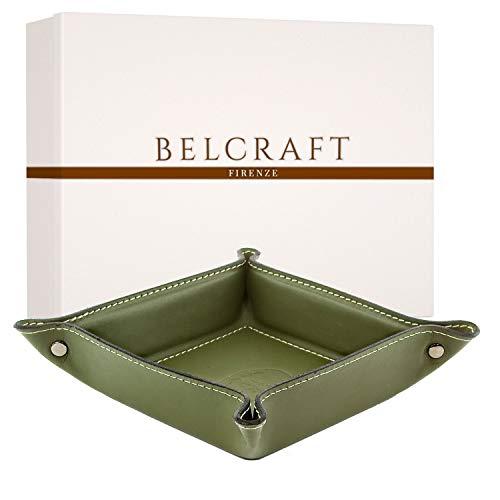 Belcraft Orvieto Svuotatasche in Pelle, Realizzato a Mano da Artigiani Toscani, Porta Oggetti, Verde (19x19 cm)