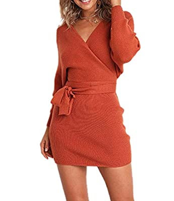 Material: Thick and high quality sweater fabric, keep warm in spring, fall or winter Trendy knitted dress,Bodycon one piece dress,V neck wrap design,batwing sleeves,belt decoration,sexy backless design,elegant sweater dress High quality ribbed knit,o...