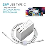 USB C Charger with 65W Type-C Power Delivery PD USB Wall Charger Adapter for New MacBook 12',Dell XPS 12 13 Lenovo thinkpad x1 Table,Asus chromebook 13 ZenBook 3 UX390 Laptops USB-C Cable