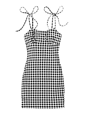 Fabric is stretchy Features: plaid, tie shoulder, sleeveless, ruch bust, high waist, short dress Occasions: suitable for club, holiday, vacation, dating, party Machine wash cold gentle, with like colors, do not bleach. Please refer to Size Chart in P...