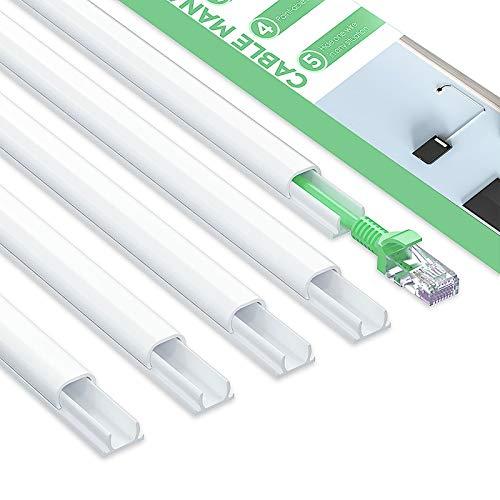 MUDEELA Kabelkanal Klein, Mini Kabel Verstecken, Kabelschacht zum verstecken von Kabel, Kabelkanal Selbstklebend Weiss für alle Netzkabel in Haushalt/Büro, 8 Stück