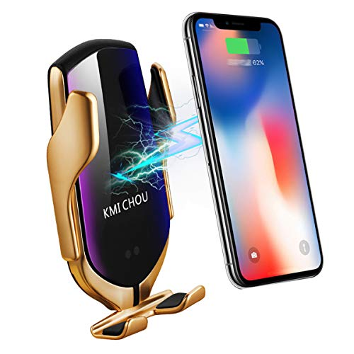 KMI CHOU R2 Wireless Car Charger Mount, Auto-Clamping Air Vent Phone Holder,10W Qi Fast Car Charging, Compatible iPhone 11/11 Pro/11 Pro Max/XS/XS Max/X/8/8+, Samsung Note9/Note10/S9+/S10+(Gold)