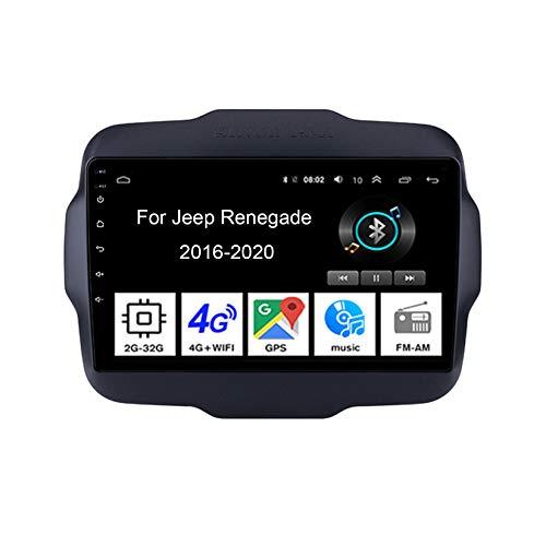 Autoradio Con Bluetooth 9 Pollici Touch Screen Navigazione Gps Car Stereo Per Jeep Renegade 2016-2020 Collega E Usa Support Controllo Del Volante Chiamate in Vivavoce Telecamera Posteriore