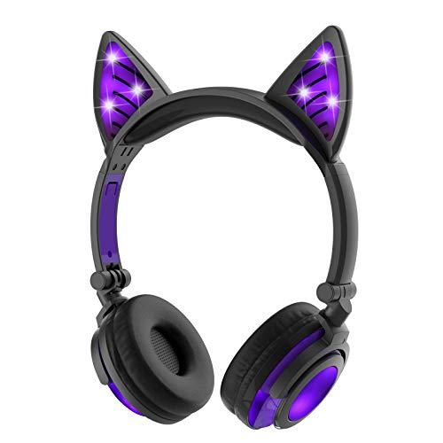 LIMSON Kids Headphones Cuffie, Auricolari Barsone Cavo Cat, Auricolare Pieghevole Gatto Cosplay Sopra l' orecchio per Bambini con Luce Incandescente Cute Headsets (Viola)