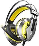EKSA Wired Over-Ear Stereo Gaming Headset with mic For PS4, PC, Xbox One Controller, Noise Cancelling Over Ear Headphones With Mic (Yellow)