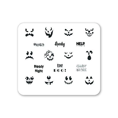 Winstonia Halloween Nail Stamping Plate Fun Jack-O'-Lantern Template, Spooky Manicure Art Designs (Spooktacular)