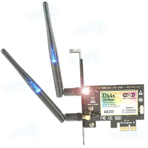 Carte WiFi Gigabit Ubit, 802.11ax Superspeed 2974Mbps, WiFi 6 AX200, Carte Réseau sans Fil PCIe Double Bande (5GHz / 2,4GHz) Adaptateur Bluetooth 5.0 PCI-E avec Antenne 2X 6dBi